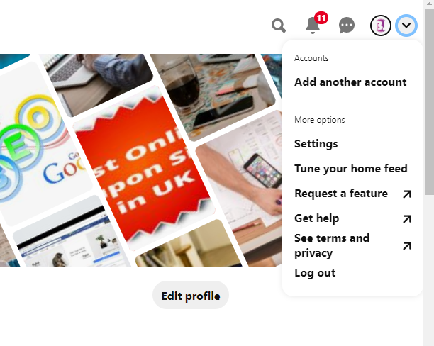 Profile setting on pinterest